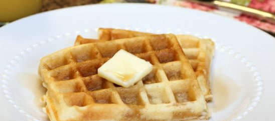 Waffles from Scratch with Homemade Maple Syrup