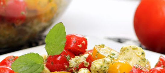 Tomato and Mozzarella Salad with Pesto