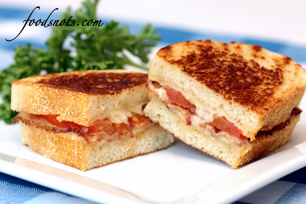 recipe: garlic rubbed grilled cheese with bacon and tomatoes [5]
