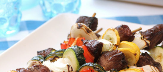 Sirloin and Summer-Vegetable Kebabs with Gorgonzola Port Sauce