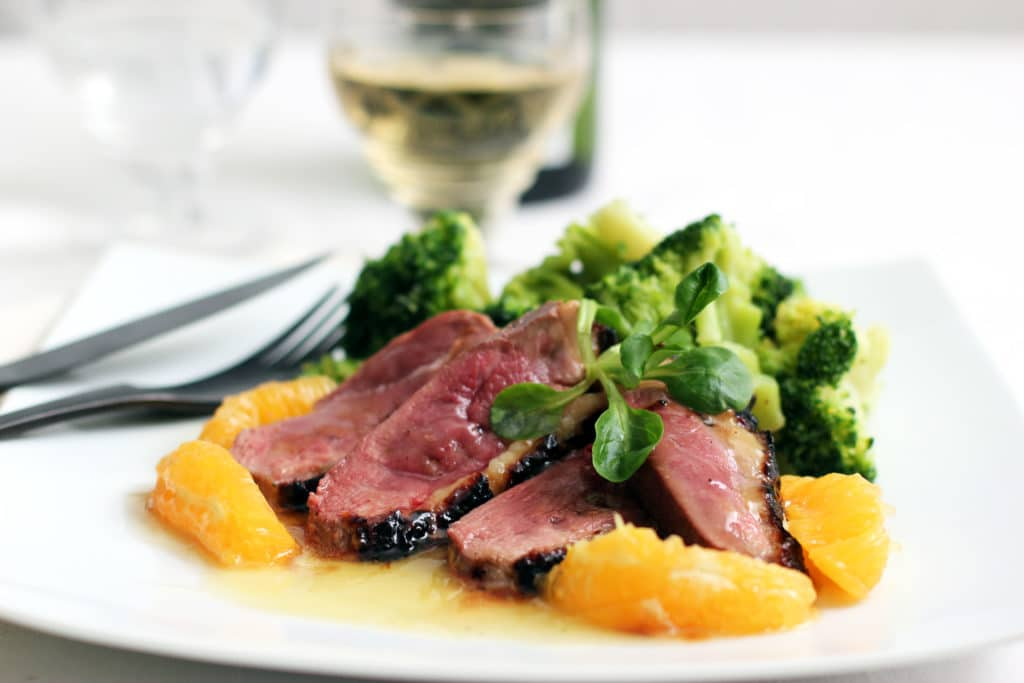 Duck breasts with orange